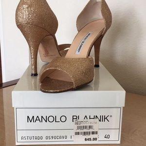 Manolo Blahnik Gold Glitter Sparkle Pumps